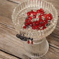 Glass Jewelry Holder Cottage Chic Vintage Dresser Display -US Shipping Included