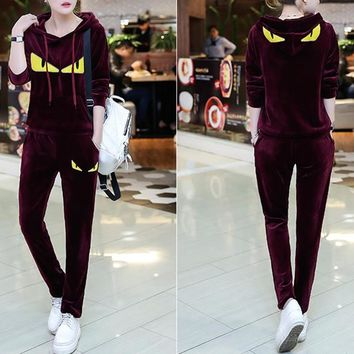 """FENDI"" Women Casual Fashion Velvet Little Monster Long Sleeve Hooded Sweater Trousers Set Two-Piece Sportswear"