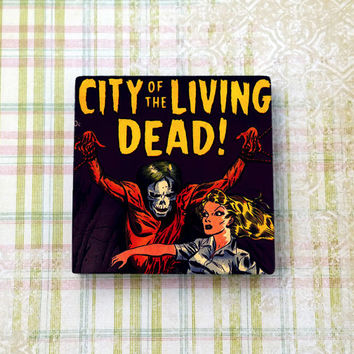 Retro Horror Comic Art City of the Living Dead Square Ceramic Tile Refrigerator Fridge Magnet Cubicle or Dorm Decor 2 Inches