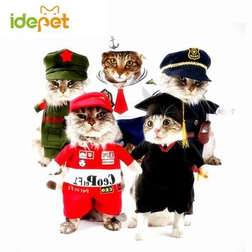 Funny Cat Clothes Pet Costume Nurse Policeman Suit For Cat Halloween Costume Pet Cat Clothes Uniform Hat Attire Suit 25S1
