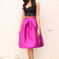 High Waisted Structured Box Pleat Full Midi Skirt in Orchid Purple
