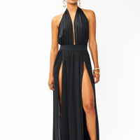 Take-The-Plunge-Slit-Dress BLACK KHAKI RED - GoJane.com