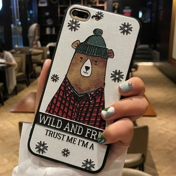 Mr. bear Pattern Case for iPhone X 8 7 6S Plus &Gift Box