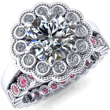 Zinnia Round Moissanite 8 Prongs Milgrain Halo Accent Diamonds Pink Sapphire Ring