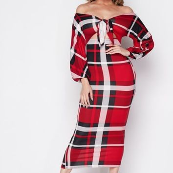 Home for the holidays plaid dress