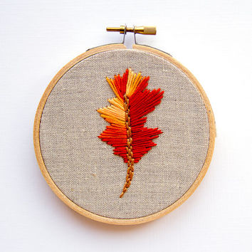 Ombre Feather Embroidery, Orange Autumn Sunset, 4 Inch Hoop Art, Hand Embroidered, Boho Wall Art, Hipster Decor, Silk Road Inspiratio