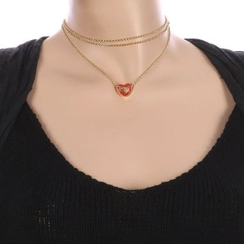 Red Metal Heart Charm Three Chain Choker Necklace