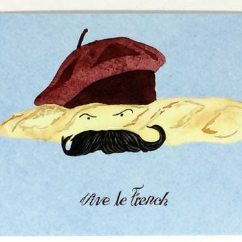 Pack of 10 French Humor Postcards, Foodie French Food Themed Cards, Ten Mustache Beret Postcards, Funny Silly Humor Postcard in Watercolor