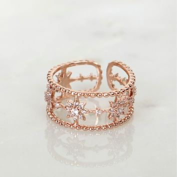 Detailed Star Ring Rose Gold
