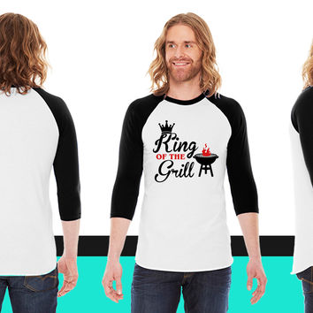 King of the Grill American Apparel Unisex 3/4 Sleeve T-Shirt