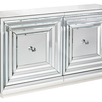 2-Door Stepped Mirror Cabinet