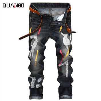 2017 Men Jeans Design Fashion Biker Runway Hiphop Slim Jeans Hole Offset printing Distressed Jeans Men ripped jeans
