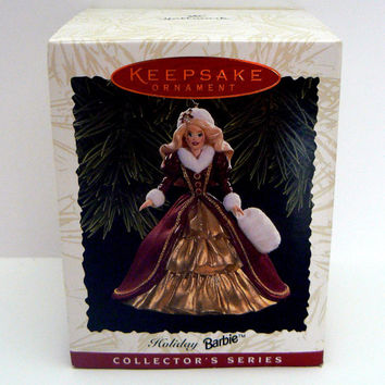 Barbie Holiday Barbie Ornament Hallmark Keepsake Collectors Christmas 4th in Series Fourth Patricia Andrews Happy Holidays Doll Ornament