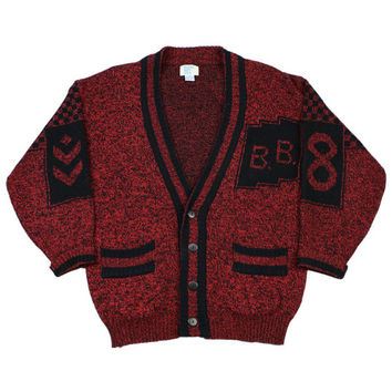 Vintage 90s Bugle Boy Cardigan Sweater in Red/Black Mens Size Medium