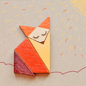 Wood Laser cut Brooch Orange Origami Fox
