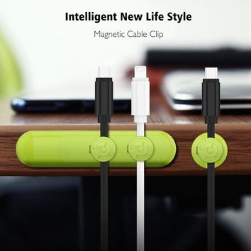 KISSCASE Magnetic Cable Winder Clip Tidy Desktop Magnet Earphone Cord Management Device Micro USB Type c Charger Cable Orgnizer