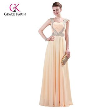 Grace Karin Chiffon Red Formal Dress Evening Dresses 2017 Long Gowns Sexy Beading Backless Wedding Party Dress for Women