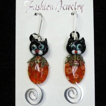 Halloween Earrings Handmade, Kitty Cat Lampwork, Orange Millefiori, Bronze and Silver findings, fall earrings
