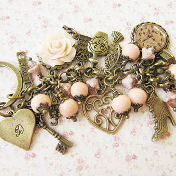 Personalized bag charm, purse charm, keychain, handmade, vintage style, peach, gift for her, Europe