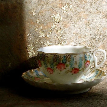 Vintage Roses Demitasse Cup and Saucer - Pink and Blue - Hand Painted Porcelain - Scalloped Edge - Cottage Kitchen Decor