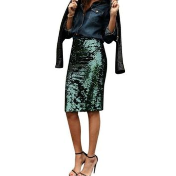 High Waist  Pencil Knee-length Green Sequined Skirt