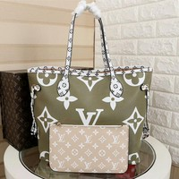 hcxx 1005 Louis Vuitton LV Neverfull Shopping Bag Daier Azur Canvas Handbag 32-29-17cm White Green