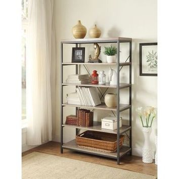 "Homelegance Daria Bookcase, 40""W In Metal Frame With Grey Weathered Wood"