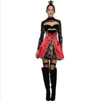 2016new high quality Queen of Hearts costume Alice In Wonderland Cosplay Dress Poker Queen clothing Halloween Costumes For Women