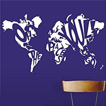Wall Decal Vinyl Sticker Decals Art Decor Design Sign Oh The Plases you ll Go Map World Mural Counrty Kids Bedroom Nursery (r441)