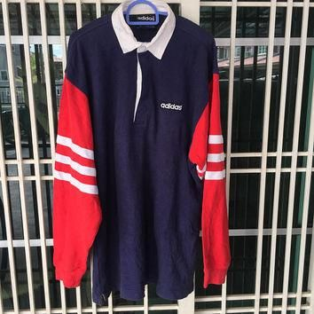Vintage 90s Adidas Polo Shirt colour block Medium size