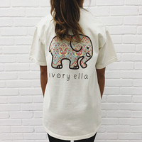 Cute Elephant T-Shirts with Pocket for Women