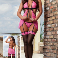 3pc Sexy Darling Babydoll & Stockings Lingerie Set