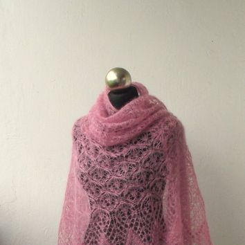 Dusty Pink hand knitted  mohair shawl with lace  pattern