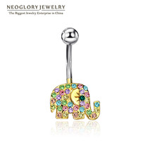 "Elephant Rhinestone Belly Button Ring ""FREE SHIPPING"""