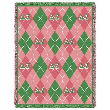 DELTA ZETA ARGYLE AFGHAN THROW BLANKET