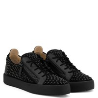Giuseppe Zanotti Gz Doris Low Black Suede Low-top Sneaker With Crystals