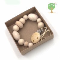 3 designs Natural round wooden beads pacifier clip wood beads dummy chain baby teether eco geometric bead shower gift NT141