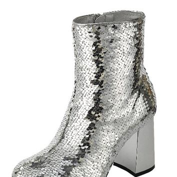 Silver Sequins ankle boots