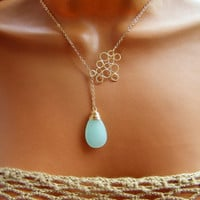 Seafoam Lariat Necklace. Mint Chalcedony Bubble Necklace on Gold.