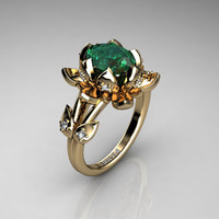 Nature Inspired 14K Yellow Gold 2.0 Carat Oval Emerald Diamond Lotus Flower Engagement Ring R1013-14KYGDEM