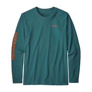 PATAGONIA MEN'S LONG SLEEVED TEXT LOGO COTTON/POLY RESPONSIBILI-TEE
