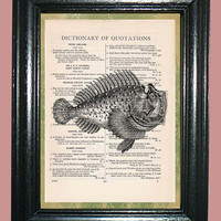 Deep Sea Prehistoric Fish - Vintage Dictionary Page Book Art Print Upcycled Page Art Print on Dictionary Page, Prehistoric Fish Print
