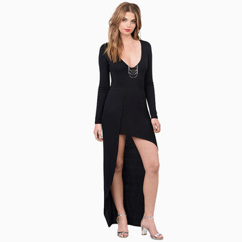 Women's Fashion Sexy Deep V Slim Irregular Long Sleeve One Piece Dress [4966214852]