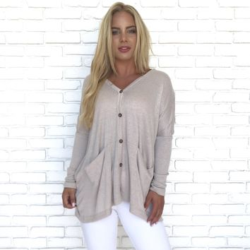 Hands In My Pocket Button Up Knit Cardigan