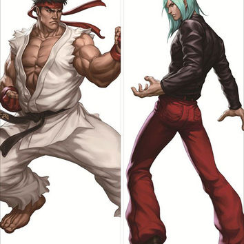 New Ryu and Remi - Street Fighter Male Anime Dakimakura Japanese Pillow Cover SF4
