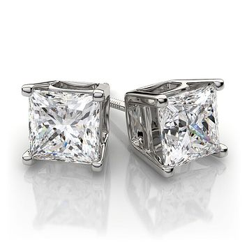 18K White Gold 1.5CT Princess Cut Russian Lab Diamond Solitaire Stud Earrings