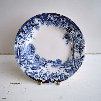 Vintage Made in England Transferware  Blue and White Small Cake Plate/Side Plate