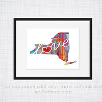 New York Love - NY Canvas Paper Print:  Grunge, Watercolor, Rustic, Whimsical, Colorful, Digital, Silhouette, Heart, State, United States