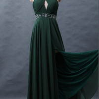 Army green chiffon dress Beading Hang a neck long prom dress Open fork Ruffles Bridesmaid dress
