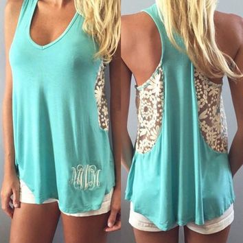 Beach Summer Comfortable Stylish Sexy Hot Bralette Blue Embroidery Lace Patchwork Vest [9266607372]